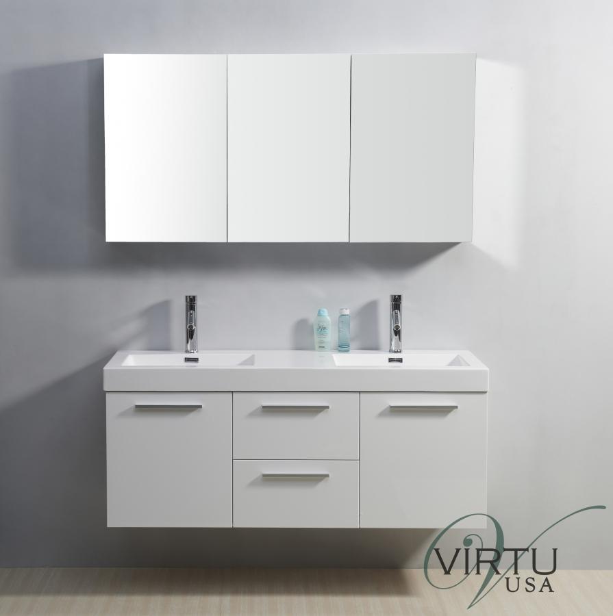 54 Inch Double Sink Bathroom Vanity In Gloss White