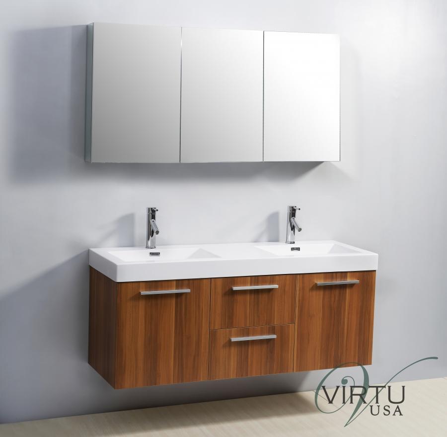 54 Inch Double Sink Bathroom Vanity With Blum Hinges UVVU50154PL54