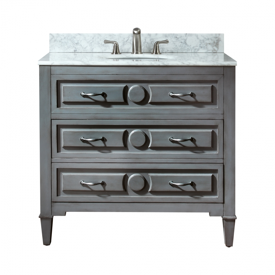 36 Inch Single Sink Bathroom Vanity in a Distressed Blue