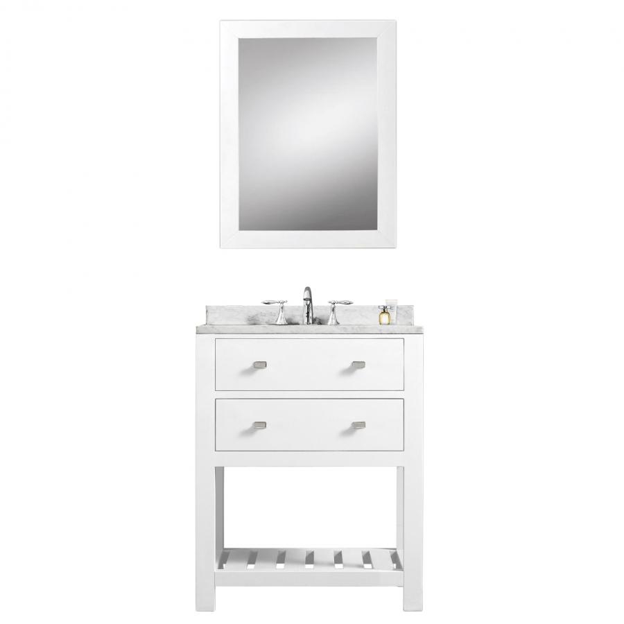 24 Inch Single Sink Bathroom Vanity With Carerra White Marble UVWCMADALYN24W
