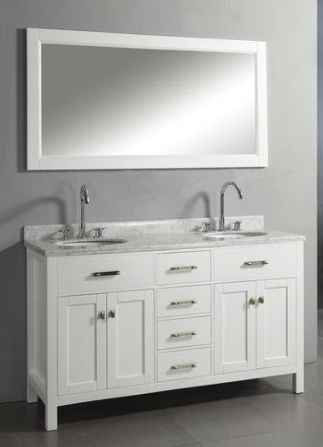 60 Inch Double Sink Vanity With White Finish And Italian