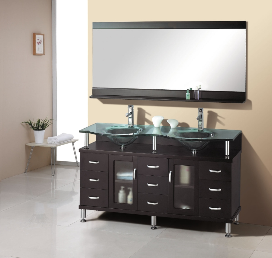 61 Inch Modern Double Sink Bathroom Vanity in Espresso