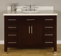 42 Inch Single Sink Modern Dark Cherry Bathroom Vanity ...