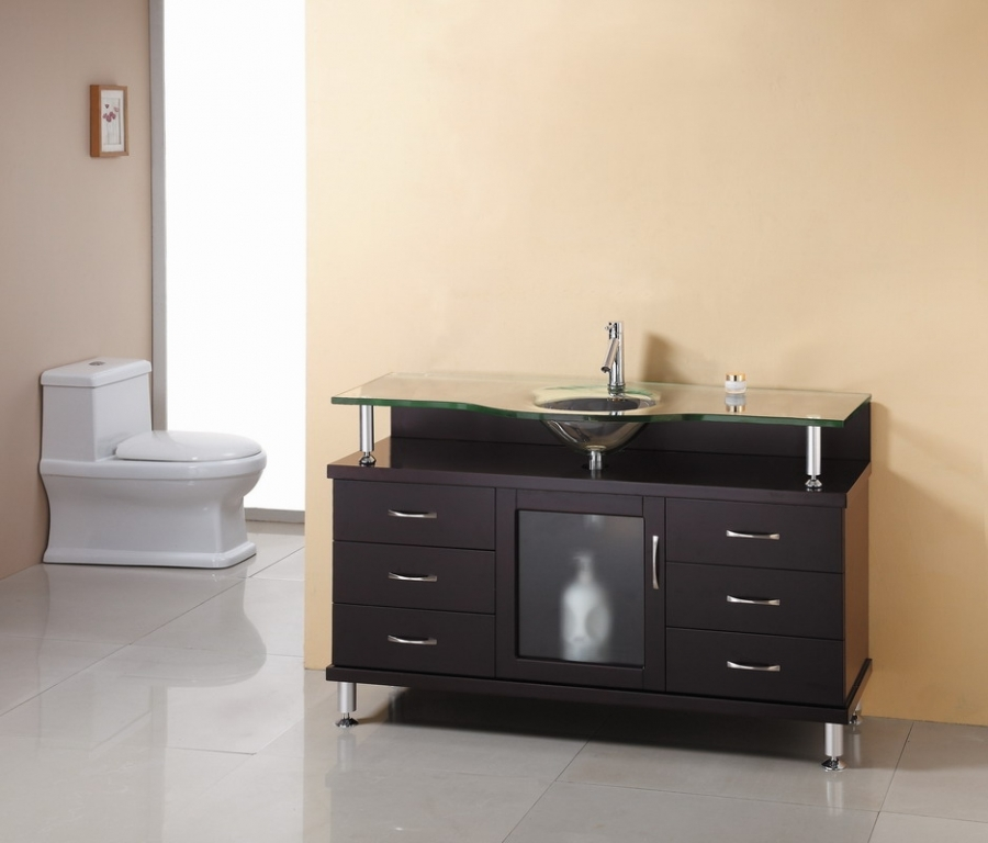 55 Inch Single Sink Bathroom Vanity in Espresso with Glass Top and Sink UVVU5555