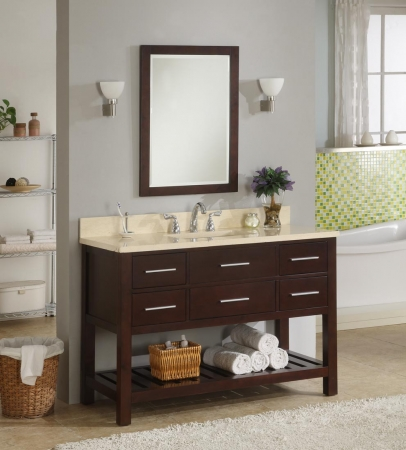 48 Inch Single Sink Modern Cherry Bathroom Vanity With Open Shelf And Choice Of Counter Top UVEIPR48