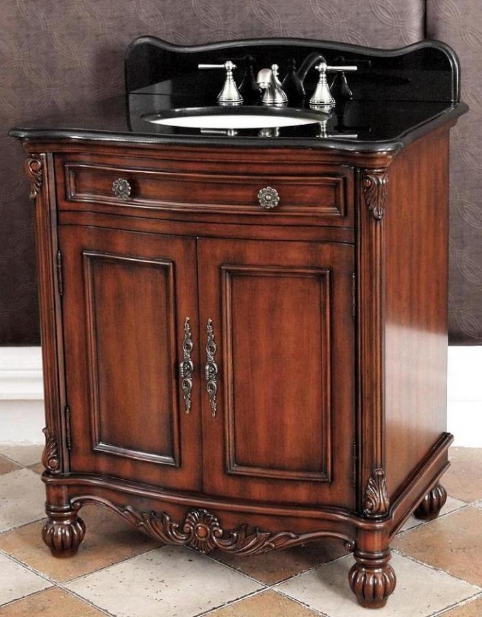 32 Inch Single Sink Bathroom Vanity with Black Granite Top