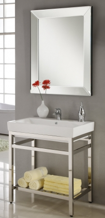 31 Inch Single Sink Console Bathroom Vanity With Choice Of Metal Base Finish And White Ceramic