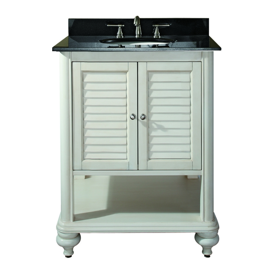 25 Inch Single Sink Bathroom Vanity with Antique White Finish and Black Granite UVACTROPICAVS24AW25