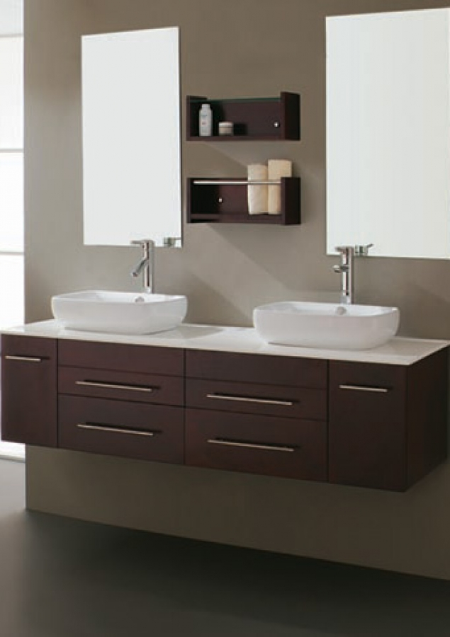 59 Inch Modern Espresso Double Vessel Sink Bathroom Vanity