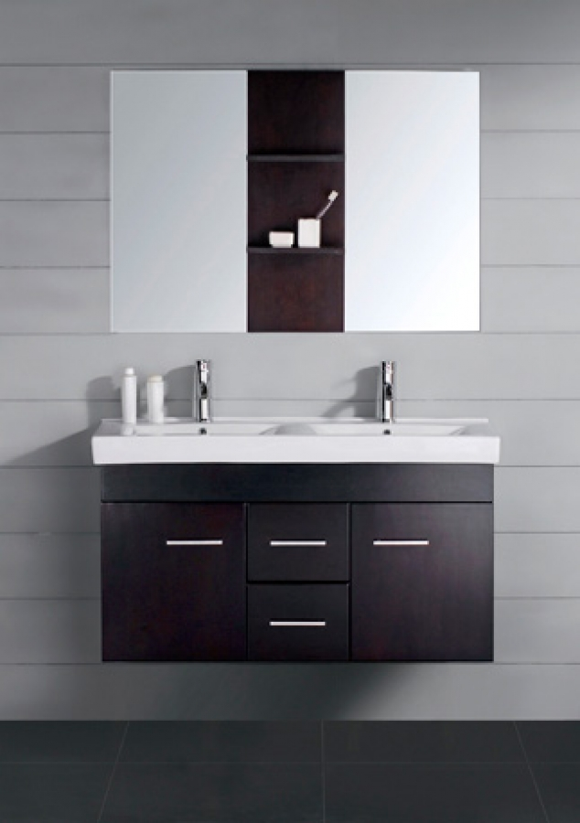 47 Inch Small Modern Double Sink Bathroom Vanity with Mirror