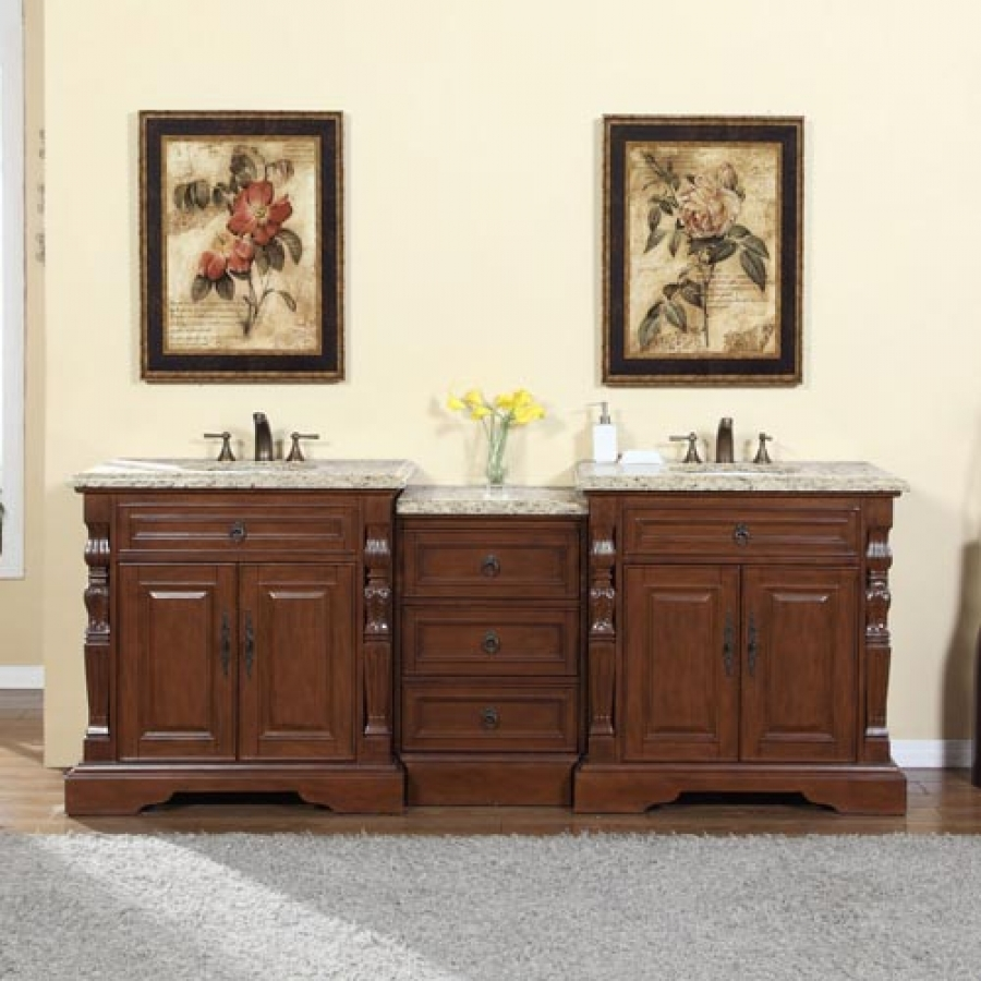 90 Inch Traditional Double Bathroom Vanity With Venetian