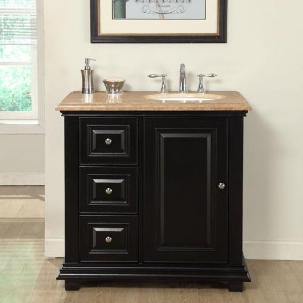 Transitional Single Bathroom Vanity With Travertine Counter Top Uvsrv0281tw36r