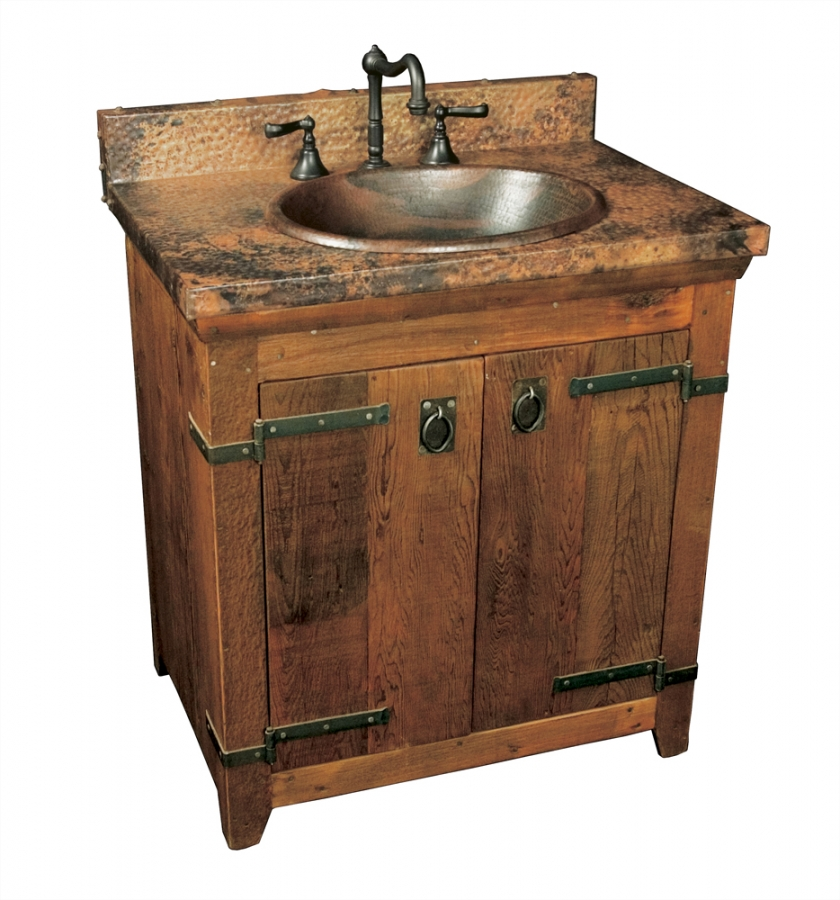 30 Inch Single Sink Bath Vanity with Copper Top UVNTVNB30130