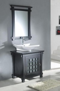 30 Inch Modern Vessel Sink Bathroom Vanity in Dark Walnut ...