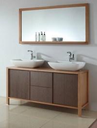 59 Inch Double Sink Bath Vanity in Red Oak and Walnut ...