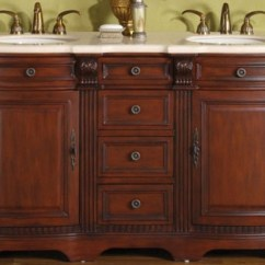Three Hole Kitchen Faucet Basics Chicken Stock 58 Inch Hand Crafted Double Sink Vanity With Marble Uvsr019758