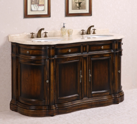 66 Inch Double Sink Bathroom Vanity With Cream Marble UVLFWH306666