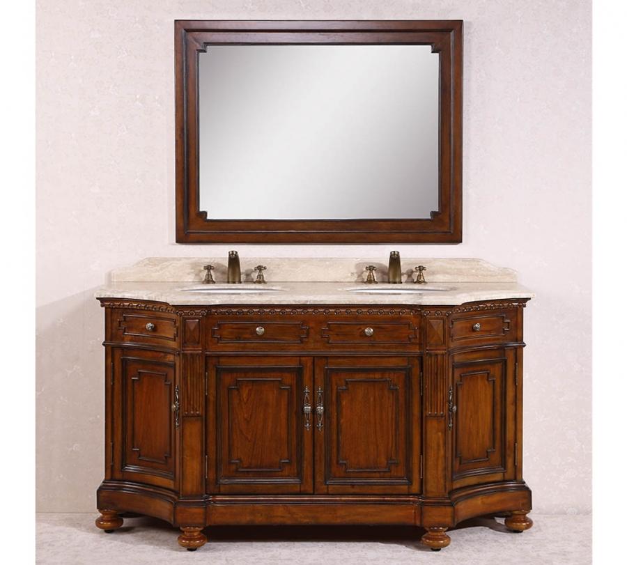 68 Inch Double Sink Bathroom Vanity with Travertine Top
