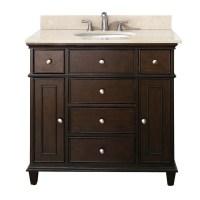 37 Inch Single Bathroom Vanity in Walnut with a Choice of ...