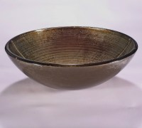 Brown and Silver Round Glass Vessel Sink UVLFZA-1301