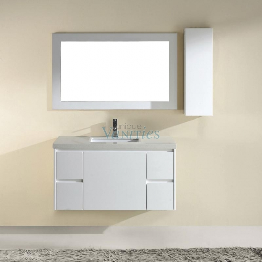 42 Inch Single Sink Bathroom Vanity with Choice of Top in High Gloss White UVABBAHW42