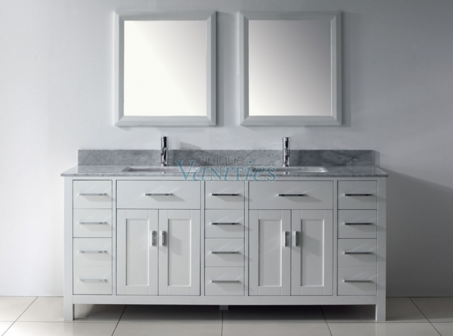75 Inch Double Sink Bathroom Vanity With Marble Top In
