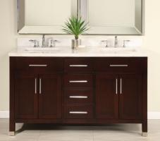 60 inch double sink modern cherry bathroom vanity with open shelf
