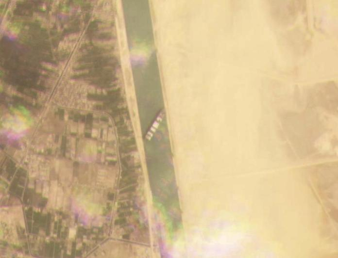 A satellite image of the incident on the Egyptian waterway.