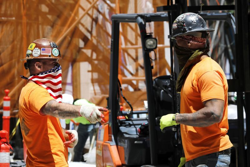 After 100 days of lockdown, construction sites are allowed to work again: Two construction workers in New York City on June 8, 2020.