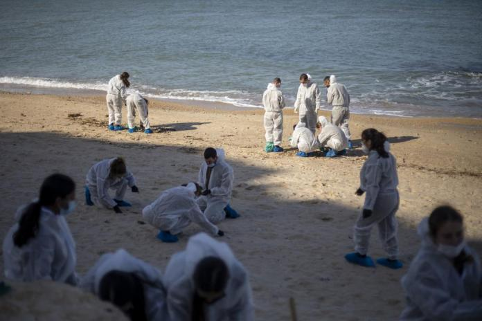 Soldiers in protective clothing clean the beach near Gaash.