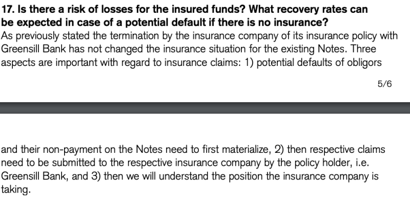 Credit Suisse admits that it is not it or its funds that have access to the credit insurance of the Greenshill Funds, but Greenshill Bank, which is in bankruptcy.