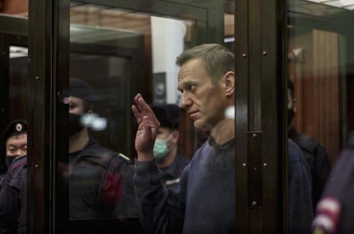 Alexei Navalny after being sentenced to three years in a penal colony.  (February 2, 2021)