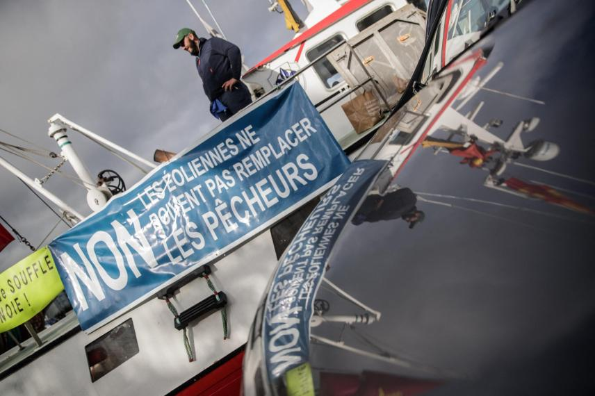 Fishermen protest against the installation of wind turbines in the sea,