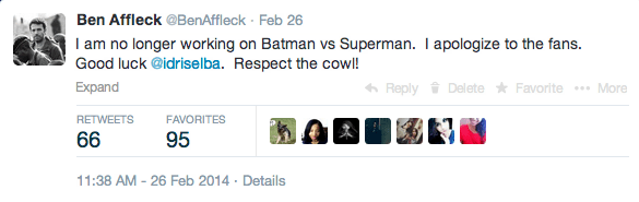 ben affleck batman vs superman tweet Ben Affleck Quits BATMAN VS SUPERMAN, Replacement Announced