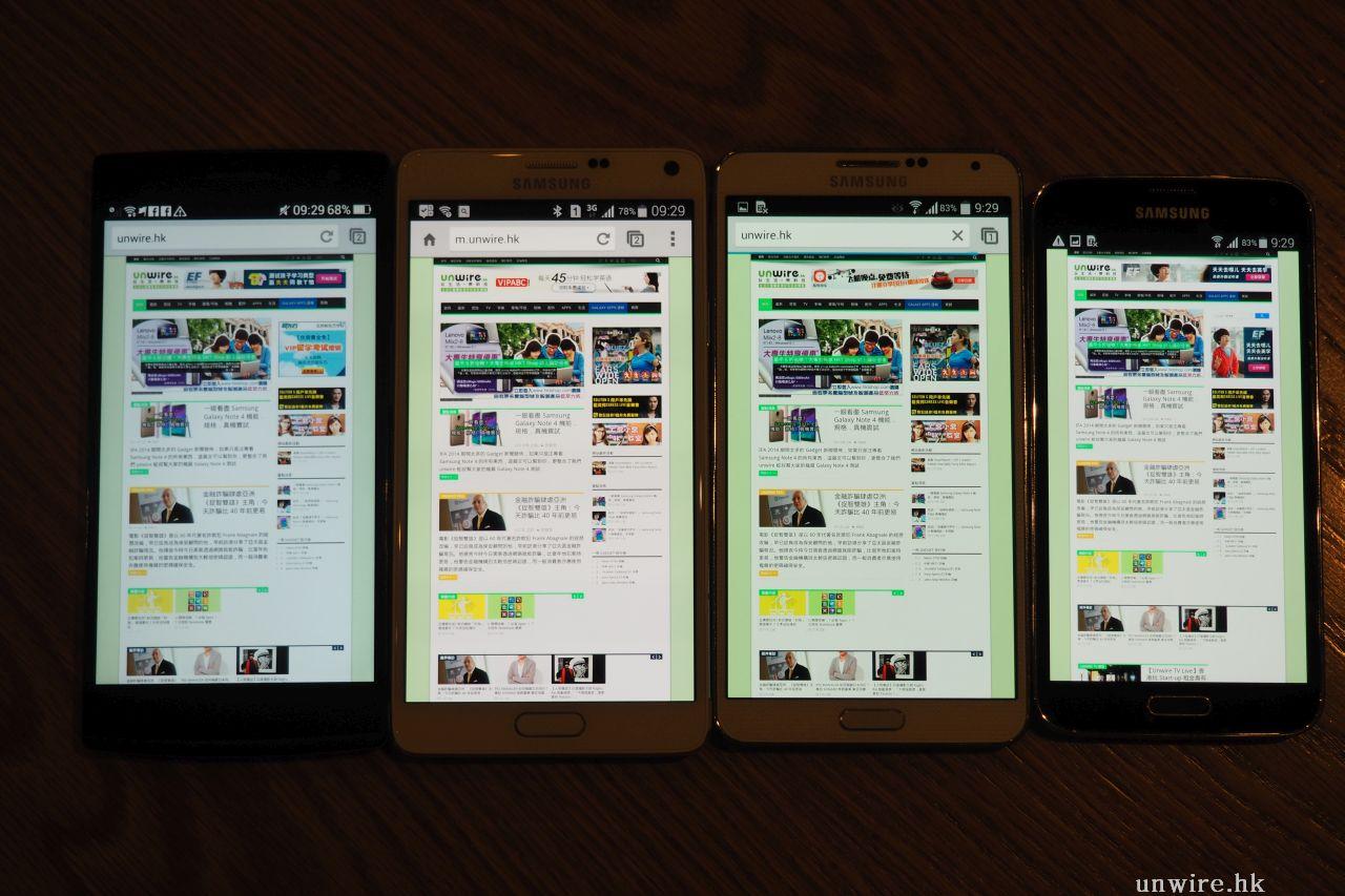 Samsung Note 4 熒幕表現點 ? 對決 Note 3 ・S5 ・ Oppo Find 7 - 香港 unwire.hk