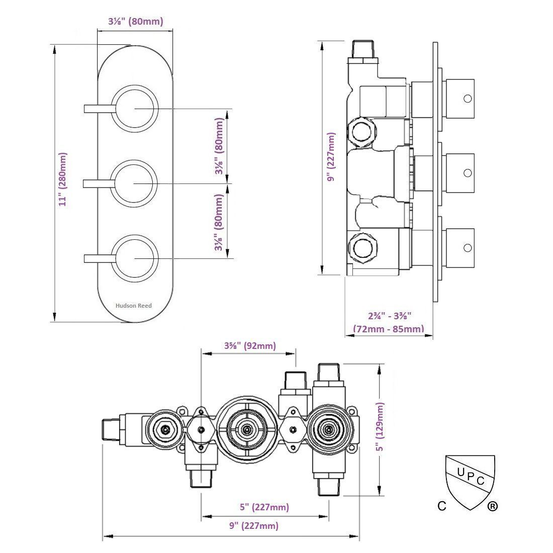 hight resolution of quest concealed 3 outlet triple with diverter thermostatic shower valve racetrack plate