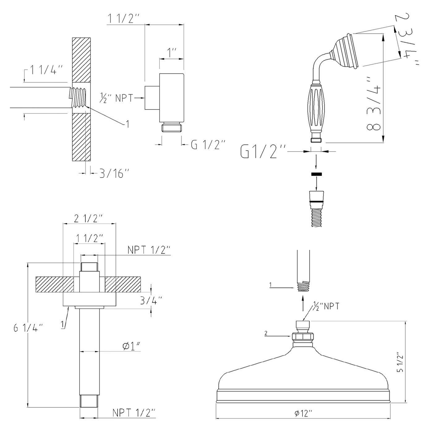 beaumont thermostatic shower system with 12 apron head