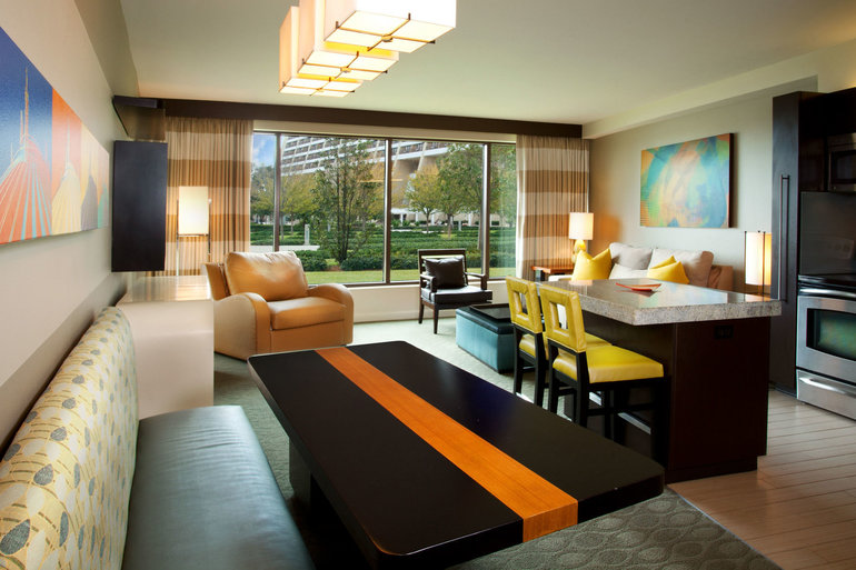 sleeper chair twin revolving of godrej two-bedroom, three-bath standard view | bay lake tower at disney's contemporary resort orlando ...