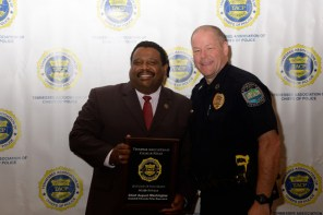 VUPD Chief August Washington (left) received Middle Tennessee Chief of the Year honors from TACP incoming president and Knoxville Police Chief David Rausch.