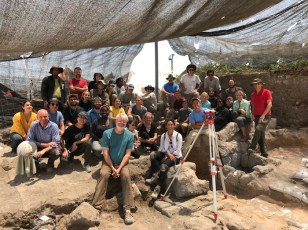 Joe Rife (center, in green) and Phil Liberman (far right, in red) with the Vanderbilt Caesarea excavation team