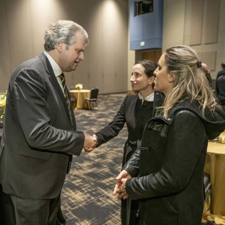 staff and community members gathered at the Student Life Center on Dec. 4 to greet Daniel Diermeier, who was named as Vanderbilt's ninth chancellor earlier in the day. (John Russell/Vanderbilt)