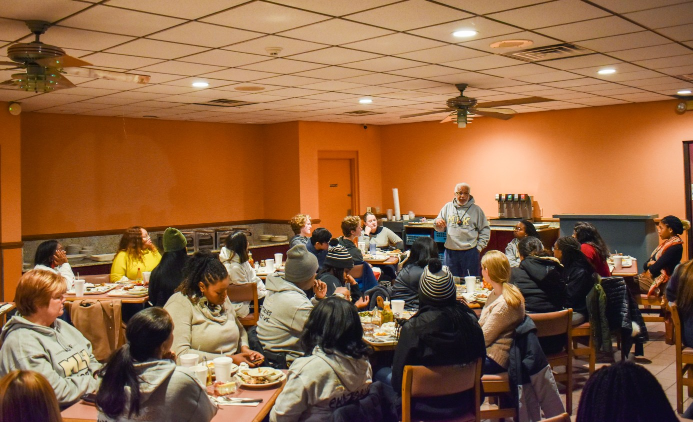 The Freedom Ride Tour made a stop at Swett's Restaurant, where participants engaged in reflection with Freedom Rider Kwame Lillard. (Jalen Blue/Vanderbilt)
