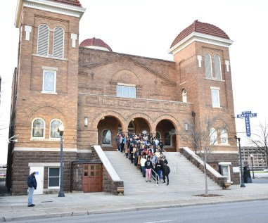Students on the Black History Immersion Excursion standing on the steps of the 16th Street Baptist Church in Birmingham, AL. This was the site of the September 15, 1963 church bombing that killed four young children. (Rosevelt Noble/Vanderbilt)