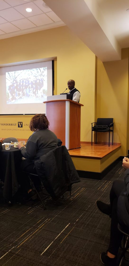 Bishop Joseph Johnson Black Cultural Center Director Rosevelt Noble presenting at the Black History Month Closeout Luncheon. (Jalen Blue/Vanderbilt)
