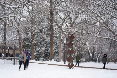 A snowy scene from campus.