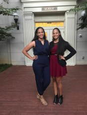 The Ayers sisters outside their first-year house on The Martha Rivers Ingram Commons.