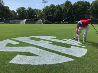 Ryan Storey working on another beautiful Commodores field.
