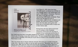 The Empty Chair COVID-19 memorial on Library Lawn honored the lives lost and affected by the global pandemic.