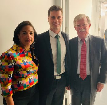 Through the Bass Military Scholars Program, Barnes met many influential leaders, including Susan Rice (left) and John Bolton (right)—who have both served in the high-profile roles of U.S. national security adviser and ambassador to the United Nations. They spoke during a Chancellor's Lecture Series on Feb. 19, 2020.