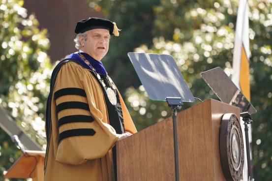 Chancellor Daniel Diermeier welcomed the returning Class of 2020. (John Russell/Vanderbilt)